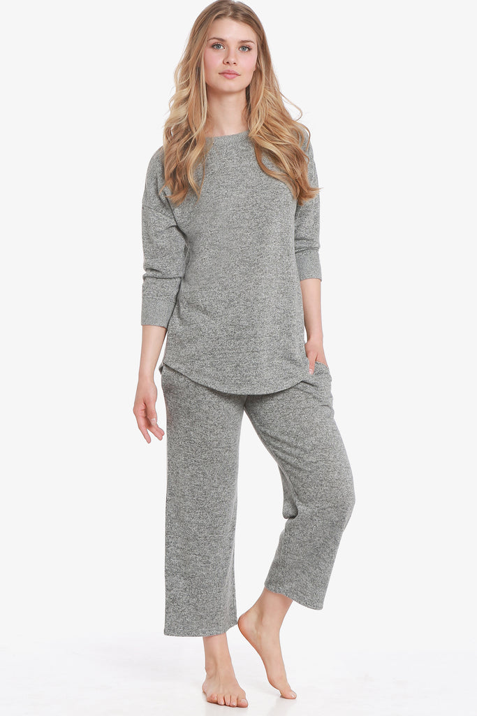 JNY - Brushed Knit Hacci Capri Pajama Set (Grey)
