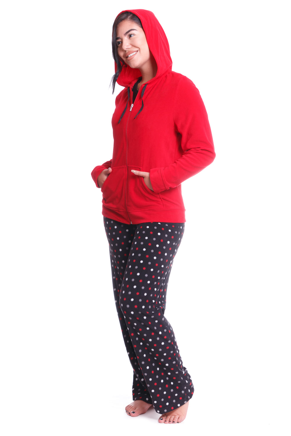 Black Polka Dot 3 Piece Pajama Set - XL