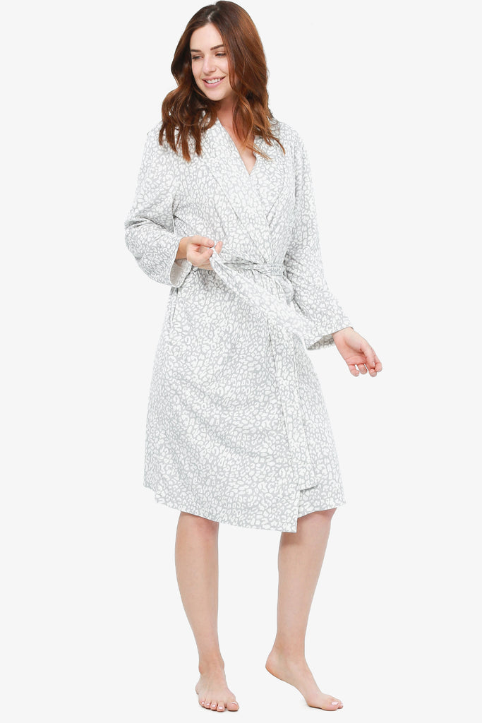 The Animal Printed Velvety Microplush Robe (Grey)