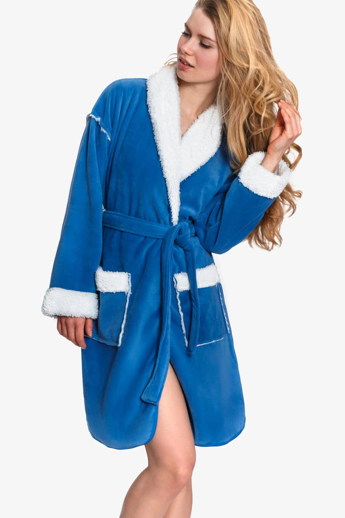 Short Sherpa Lined Robe (Blue)