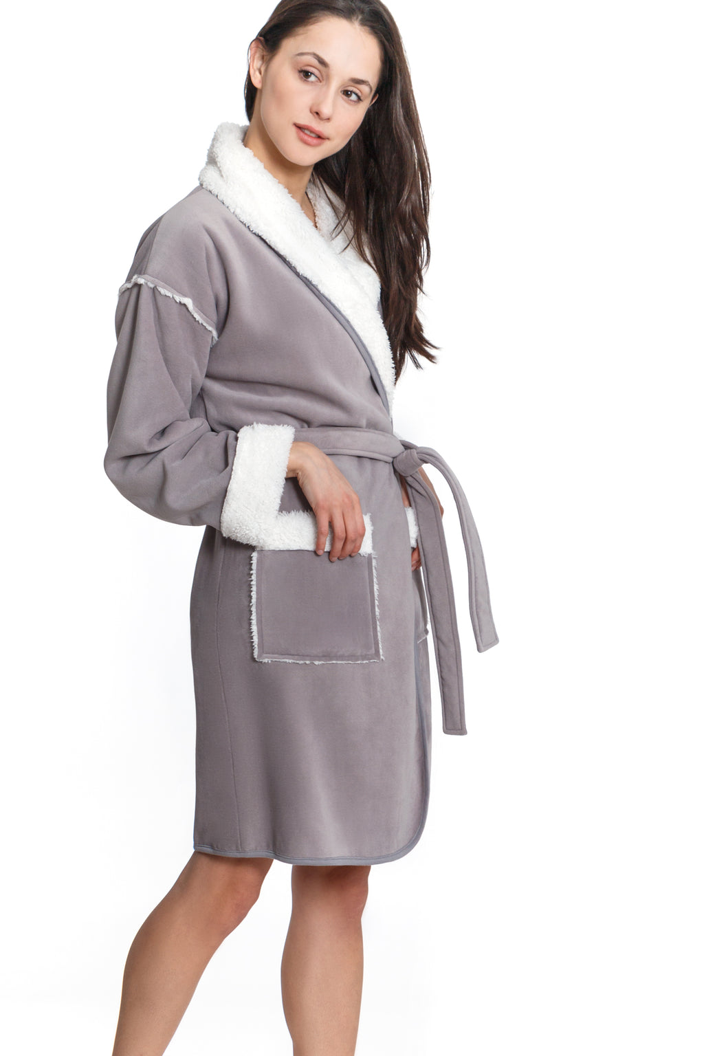 Short Sherpa Lined Robe - Grey