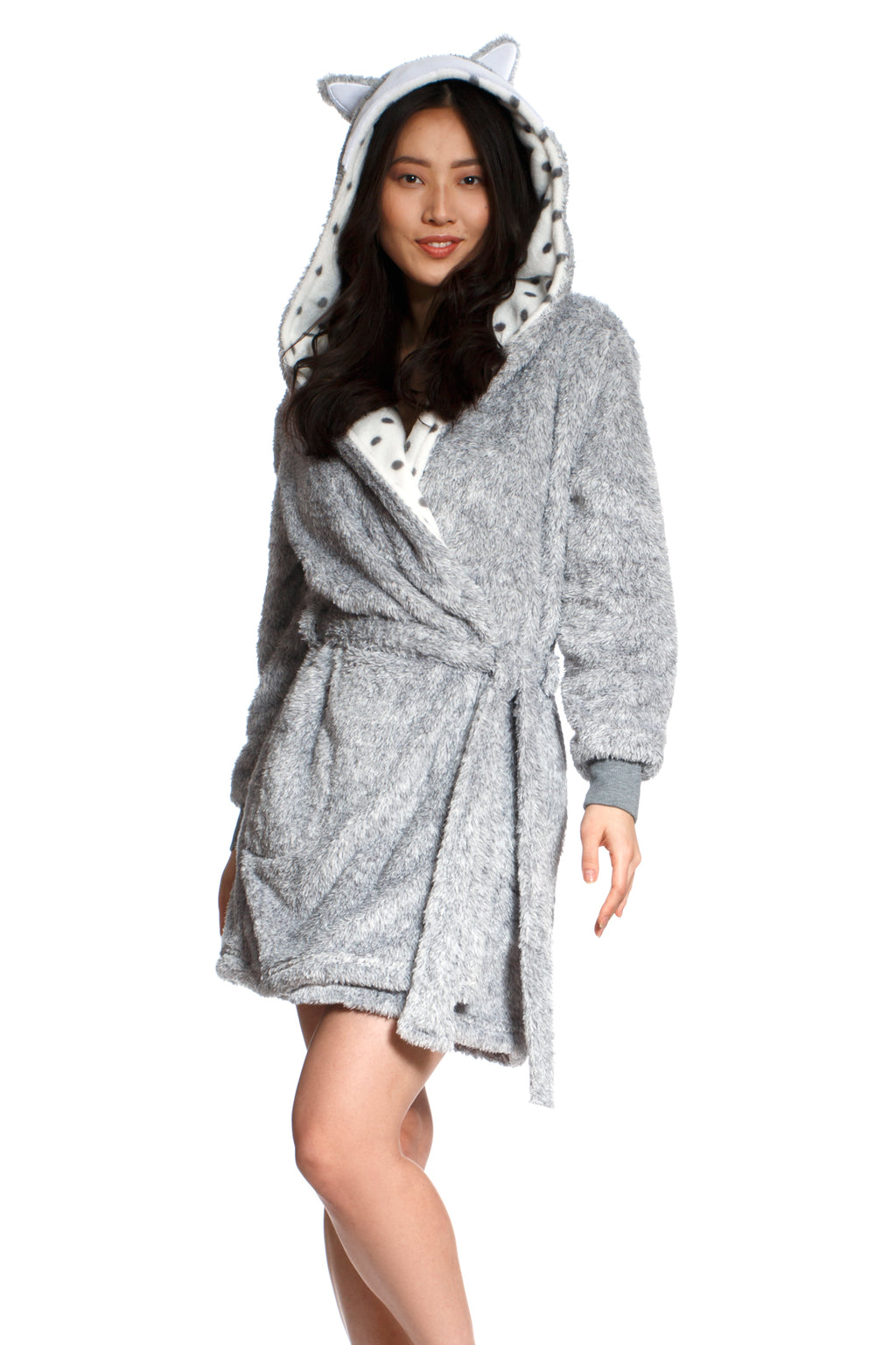 Heather Shaggy Plush Short Robe - Silver Fox