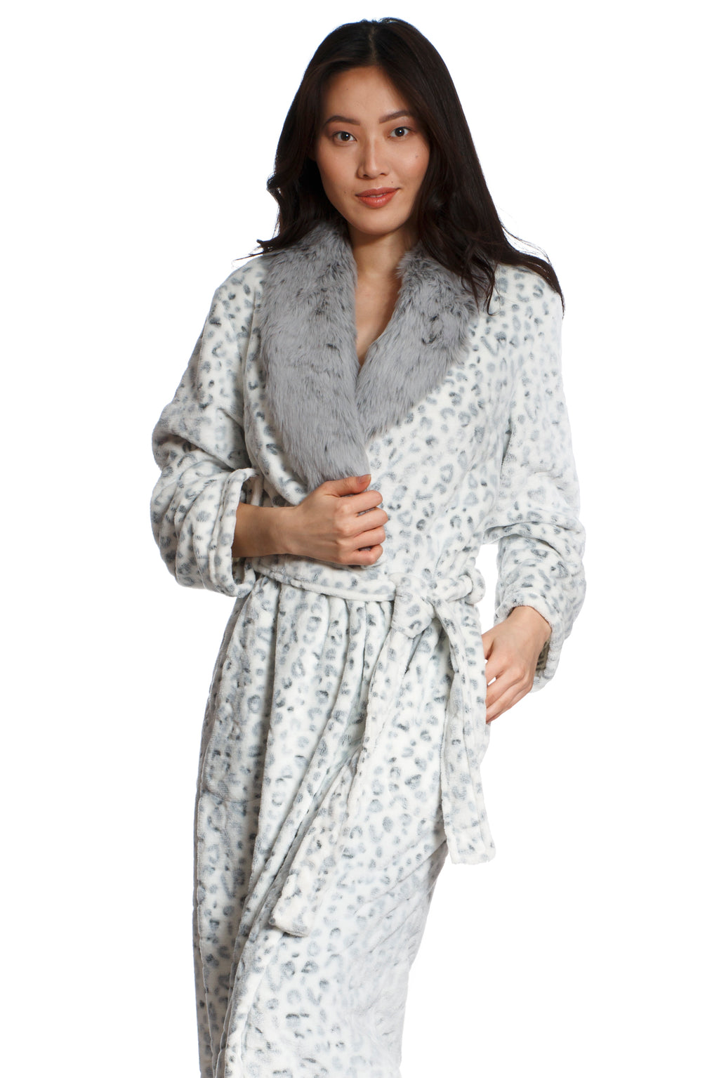 Long Leopard Print Faux Fur Collared Robe
