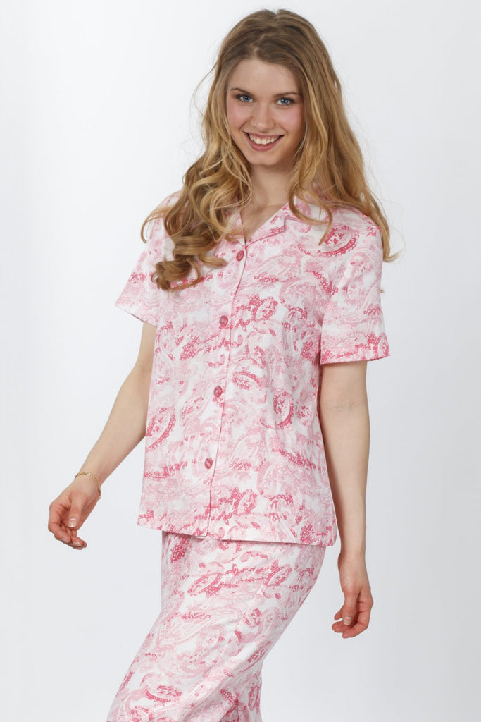 100% Cotton Pajama Set (Pink Paisley) - CozyAndCurious
