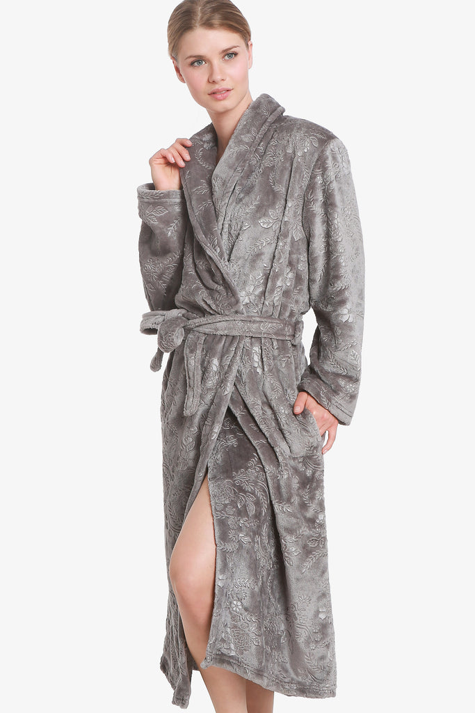 3D FLOWER ROBE (GREY)