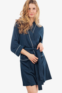 The Knit Honeycomb Kimono Spa Robe (Navy)