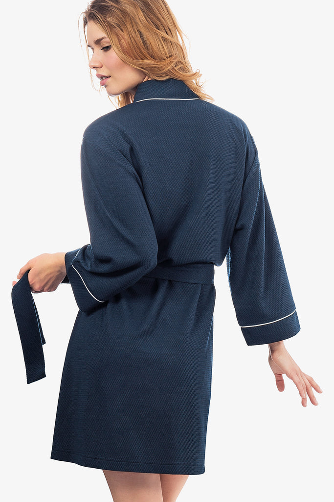 JNY - The Knit Honeycomb Kimono Spa Robe (Navy)