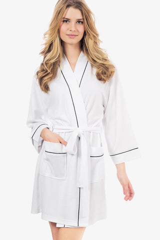 The Knit Honeycomb Kimono Spa Robe (White)
