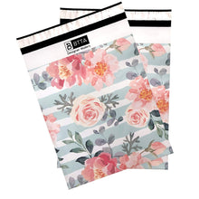 10x13 Designer poly mailer shipping bag envelopes with green stripes and pink flowers and custom printed color design showing front view
