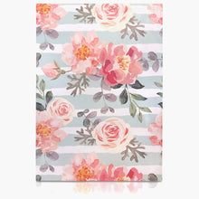 10x13 Designer poly mailer shipping bag envelopes with green stripes and pink flowers and custom printed color design showing back view
