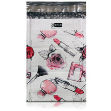 6 x 10 makeup color printed poly bubble mailers with bubble wrap padding showing front view