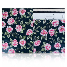 10x13 Designer poly mailers shipping bag envelopes with pink and green flowers custom printed color design showing front and back view