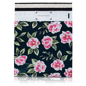 10x13 Designer poly mailers shipping bag envelopes with pink and green flowers custom printed color design front view