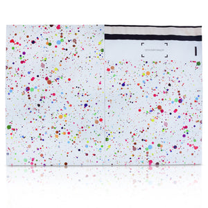 10x13 Designer poly mailer shipping bag envelope with confetti dots custom printed color design front and back view