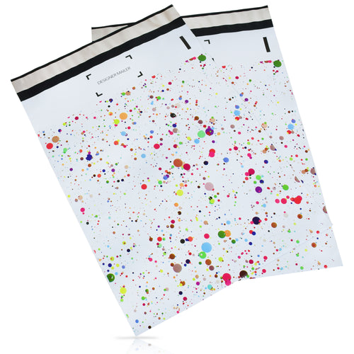 10x13 Designer poly mailer shipping bag envelope with confetti dots custom printed color design