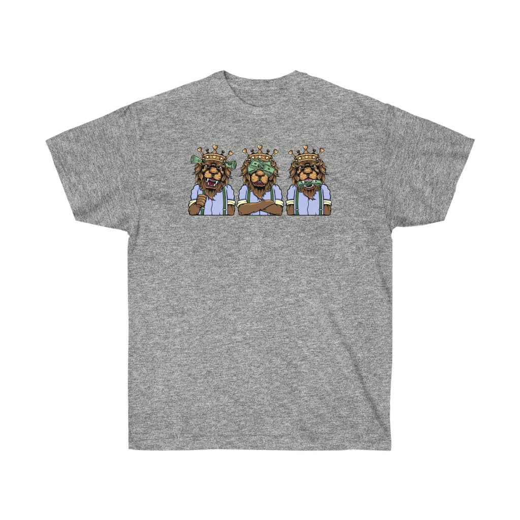 The 3 wise lions on Unisex Ultra Cotton Tee