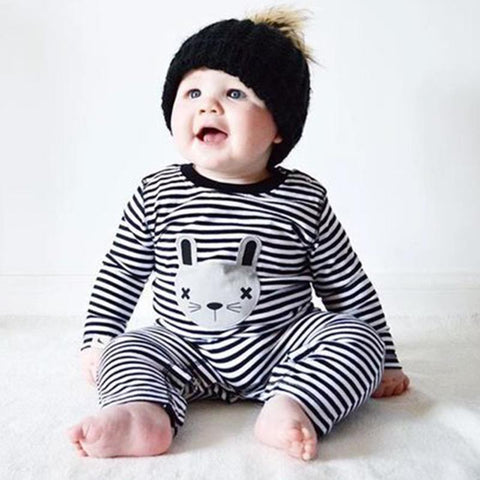 Spring Autumn  Baby Boy Girl Romper Clothes 2017 Cartoon Striped Rabbit Long Sleeve Jumpsuit Nightwear Outfit Clothing