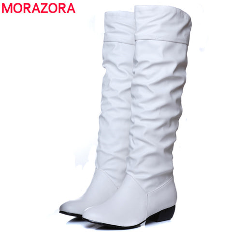 MORAZORA Large size 2018 new arrive Knee high Women Boots Black White Brown flat heels half boots spring autumn shoes woman