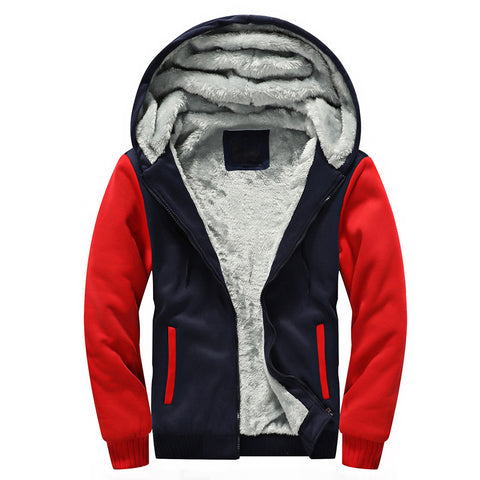 New Mens Thicken Velvet Hooded Hoodie Men Fleece Lined Sweatshirt Casual Slim Fit Zipper Plus Size Cardigans Hoodies Jacket 5XL