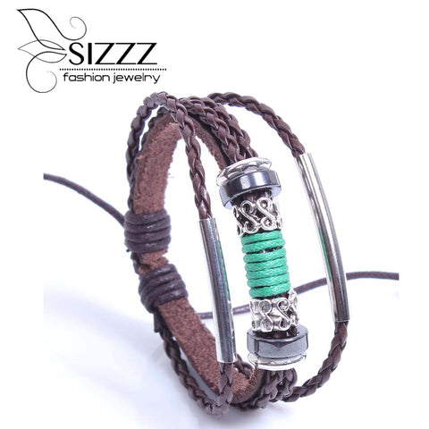 Vintage Retro Pulseira Homens Masculina Couro Male Cool Leather  Bracelet Biker Mens Steampunk Leather Jewelery