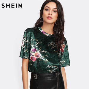 SHEIN T shirt Women Flower Print Velvet T-shirt Multicolor Short Sleeve Womens Tops Summer Casual Tops for Women
