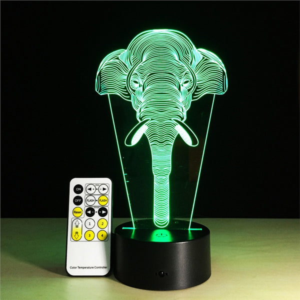 3D Optical Illusion Table Lamp 7 Colors Change Touch Button Sensitive Switch and 15 Keys Remote Control LED Light for Home Living Room Decor