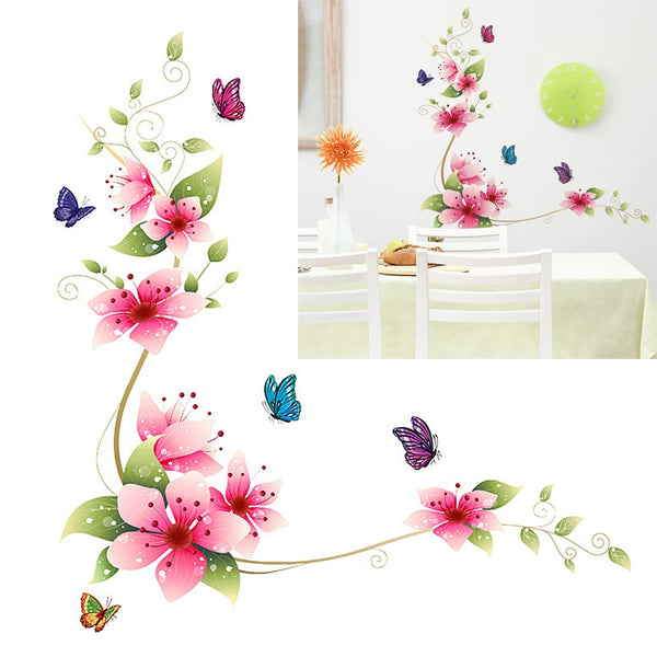 25 X 70cm Flowers Butterfly Wall Stickers Decals for Home Living Room Bathroom Glass Stickers DIY PVC Wall Pictures