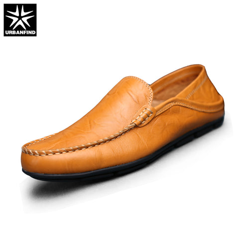 URBANFIND Autumn Spring Men Footwear Split Leather Loafers Size 38-44 Solid Color Slip on Male Casual Driving Shoes