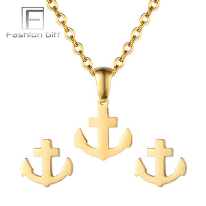 FGifter Gold Color Jewelery Set Anchor Necklace Earrings Set of Jewelry Stainless Steel Pendant Chain New Year Gifts