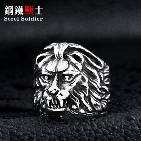 steel soldier stainless steel men fashion lion ring 3D desgin good detail jewelery