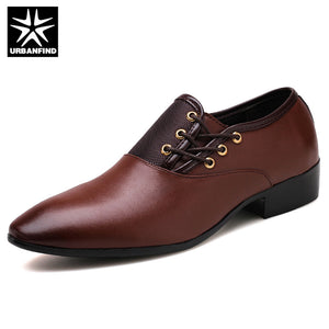 URBANFIND Designer Men Black Shoes Brand Oxfords Pointed Toe Male Dress Shoes Leather Wedding Shoes Italy Sapato Masculino 38-48
