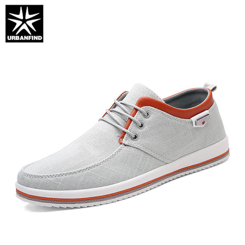 URBANFIND Breathable Canvas Shoes For Men Summer Casual Shoes Big Size 39-47 New Fashion Man Lace-up Flat Sneakers