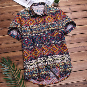 Mens Beach Hawaiian Shirt Tropical Summer Short Sleeve Shirt Men Brand Clothing Casual Loose Cotton Button Down Shirts Plus Size