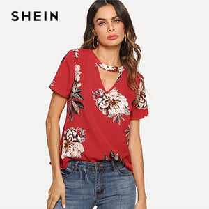 SHEIN Red Elegant V Cut Neck Keyhole Back Floral Print Short Sleeve Button Blouse Summer Women Weekend Casual Shirt Top