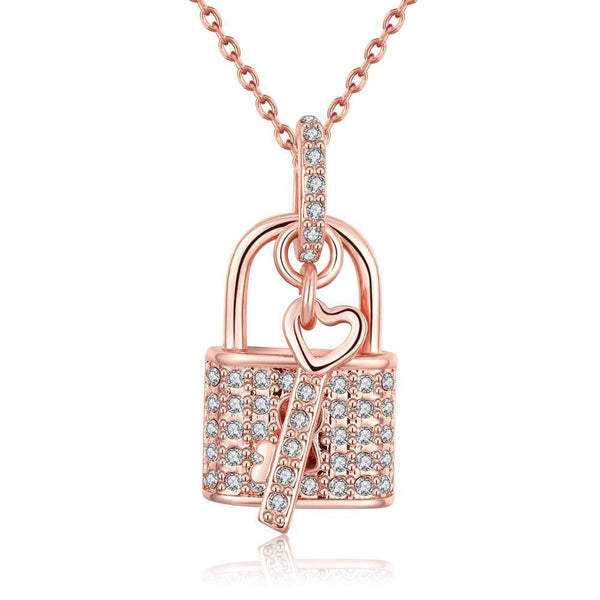 18K Rose Gold Plated Key to your HeartNecklace