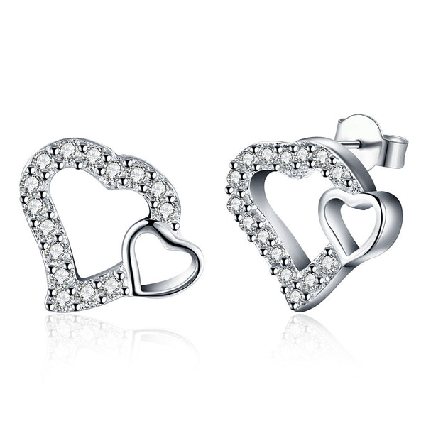 18K White Gold Plated Double Hearts Stud Earring