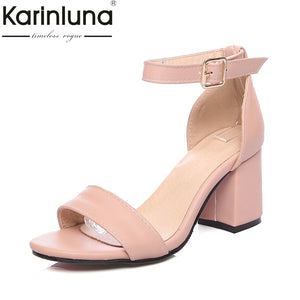 Karinluna Big Size 34-46 Customized Concise Ankle Strap Summer Shoes Women Sandals Fashion High Heels Date Footwear