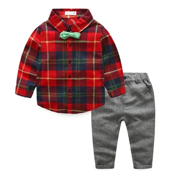2pcs Baby Boys Casual Clothing Set Kids Plaid Shirt Tops + Pants Outfits