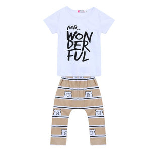 Summer 2016 2pcs Newborn Infant Baby Boys Kid Clothes T-shirt Tops + Pants Outfits Sets 0-48 Children's Clothing Set
