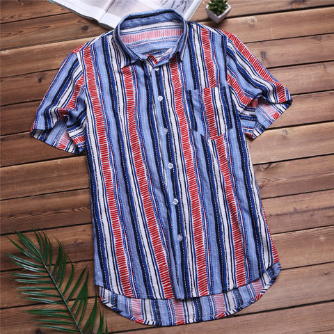 Nepal Boho 5XL Men's Shirts Short Sleeve Dress Shirt Striped Cotton Shirt Loose Turn Down Collar Hombre Camisa Hawaiian Clothes