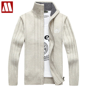 New Autumn Men's Leisure Thick Sweaters Warm Winter Male Cardigan Sweater Coat Casual Knitwear Outerwear Fleece Velvet Clothing