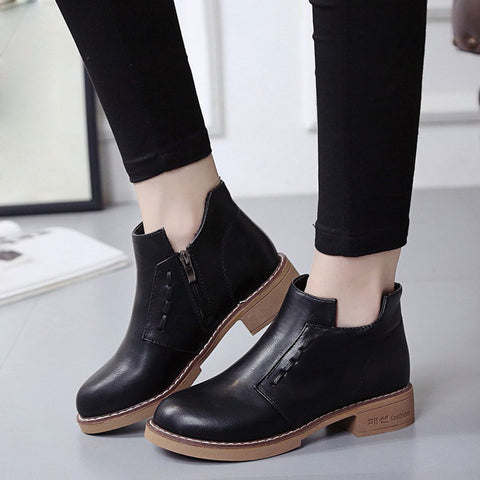 Single Short Boots Women British Martin Boots Lace-Up Women Boots Shoes