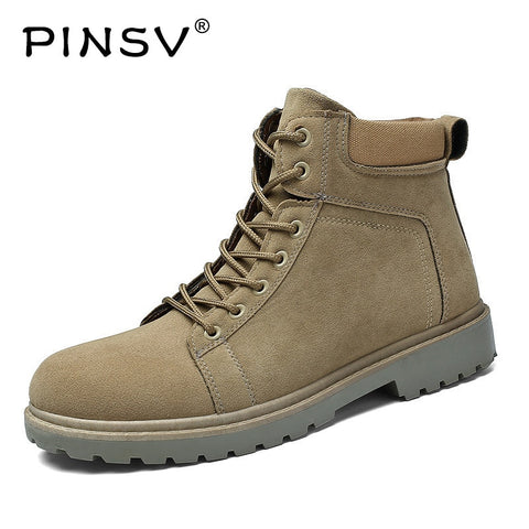 PINSV Warm Men Martin Boots Ankle Round Toe Flock High-Top Men Boots Spring/Autumn Botas Masculina Bota Size 39-44