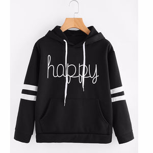 Womens Letters Applique Long Sleeve Hoodie Sweatshirt Pullover Tops Blouse