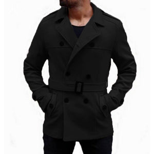 Warm Winter Fashion Men's Trench Long Coats Wool Coat Turn Down Collar Slim Fit Double Breasted Jackets British Outwear Hombre