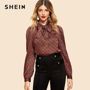 SHEIN Rust Button Front Tie Neck Tribal Shirt Vintage Elegant Long Sleeve Blouses Women Workwear Modern Lady Autumn Tops