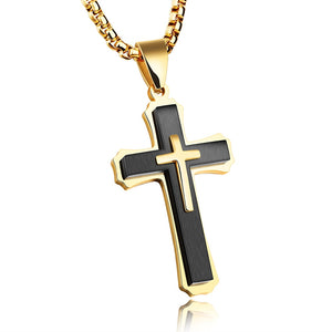 Punk Hip Hop Cross Pendant Necklace For Men Steel/Black/ Gold Color Stainless Steel Box Link Chain Male Jewelery Gift OGX1213