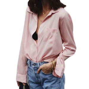Womens Chiffon Blouse Ladies V-neck Blouses Long Sleeve Shirt Women Shirt