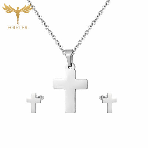 Classic Stainless Steel Set Silver Cross Stud Earrings Pendant Necklace Christian Jewelry Sets Jewelery Adornment