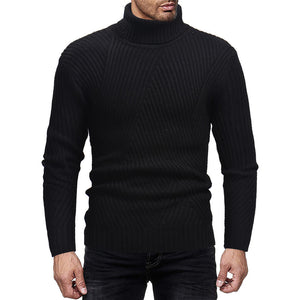 Stylish Muscle Tee Mens Sweaters Pullover Slim Fit High Neck Knitted Sweaters Masculina Tops Solid Autumn Winter Men Clothing